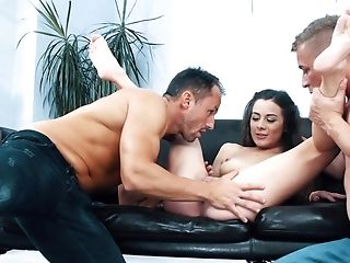 Horny Boys Have No Grace On Teenager Hoe And Dual Penetrate Her
