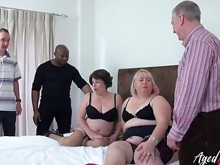 Two Horny Matures Ladies Lovin' Attention Of Three Handy Guys