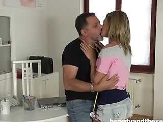 Teenage Beauty Lara West Entices And Rails An Older Fellow's Dick