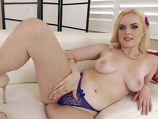 Blue Eyed Blonde Cockslut Gulps Every Drop From A Black Dude