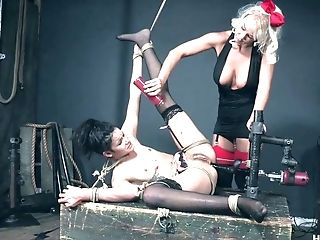 Horny And Aggressive Mistress London Sea Penalizes Twat Of Tied Up Harlot