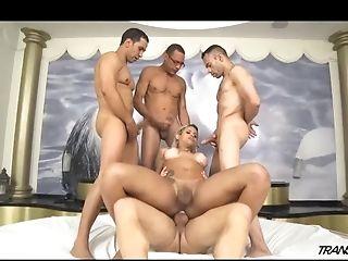 Gorgeous Tgirl Rafaella Group-fucked By Four Guys