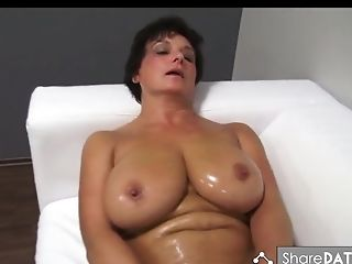 Buxomy Black-haired Matures Oils Up And Fucks