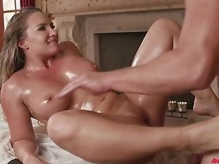 Cali Carter Gets Her Humungous Oily Tits Covered In Goopy Man Juice