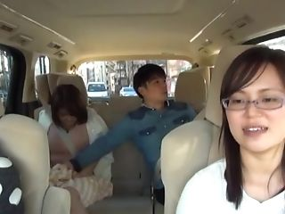 Gonzo Reality Public Fellatio With A Japanese Duo In A Car