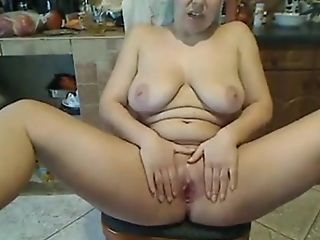 Unexperienced Voluptuous Milky Lady Sits On The Stool Of Webcam